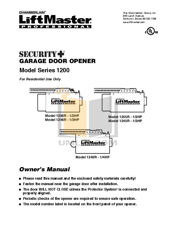 Download free pdf for Chamberlain LiftMaster 1255-2R