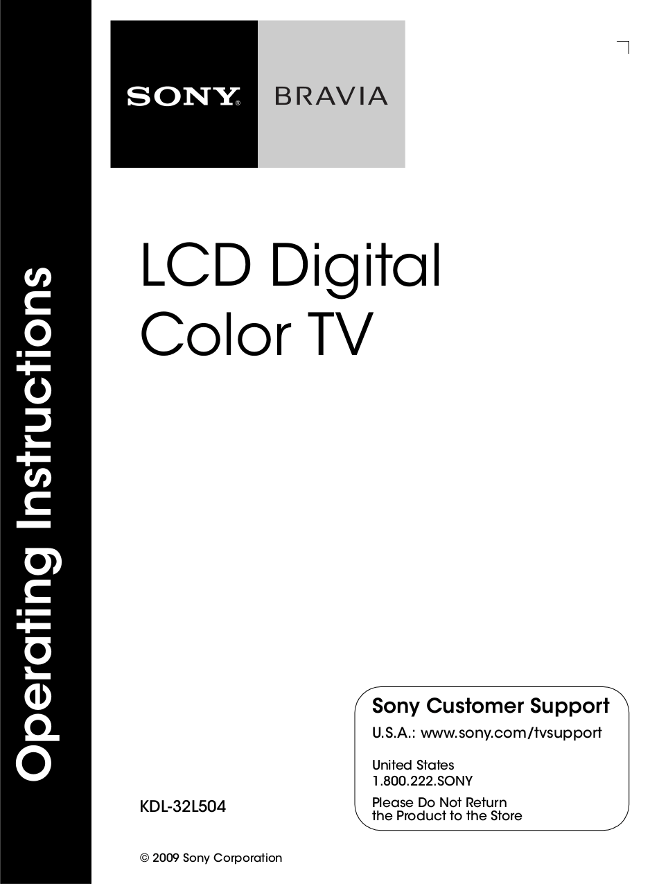 Download free pdf for Sony BRAVIA KDL-32L504 TV manual