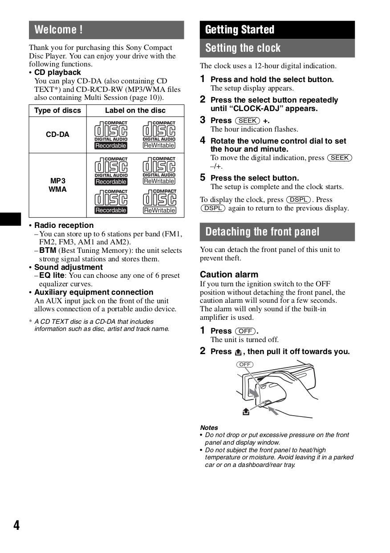 PDF manual for Sony Car Receiver CDX-GT210