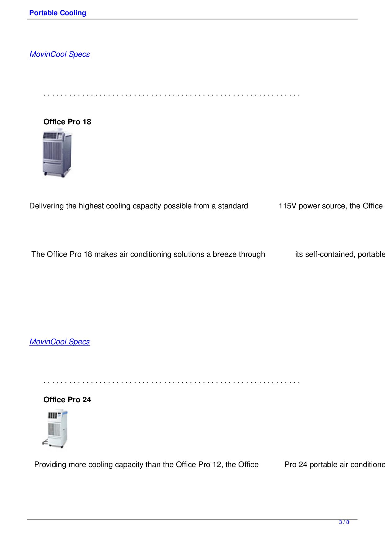 PDF manual for Movincool Air Conditioner PC 7