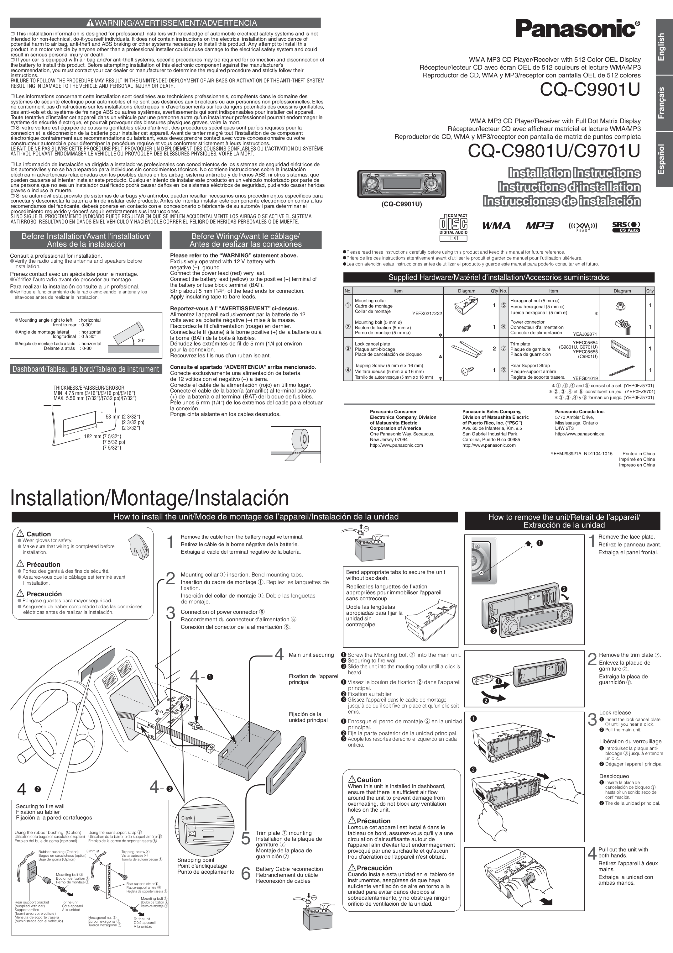 Download free pdf for Panasonic CQ-C9701U Car Receiver manual