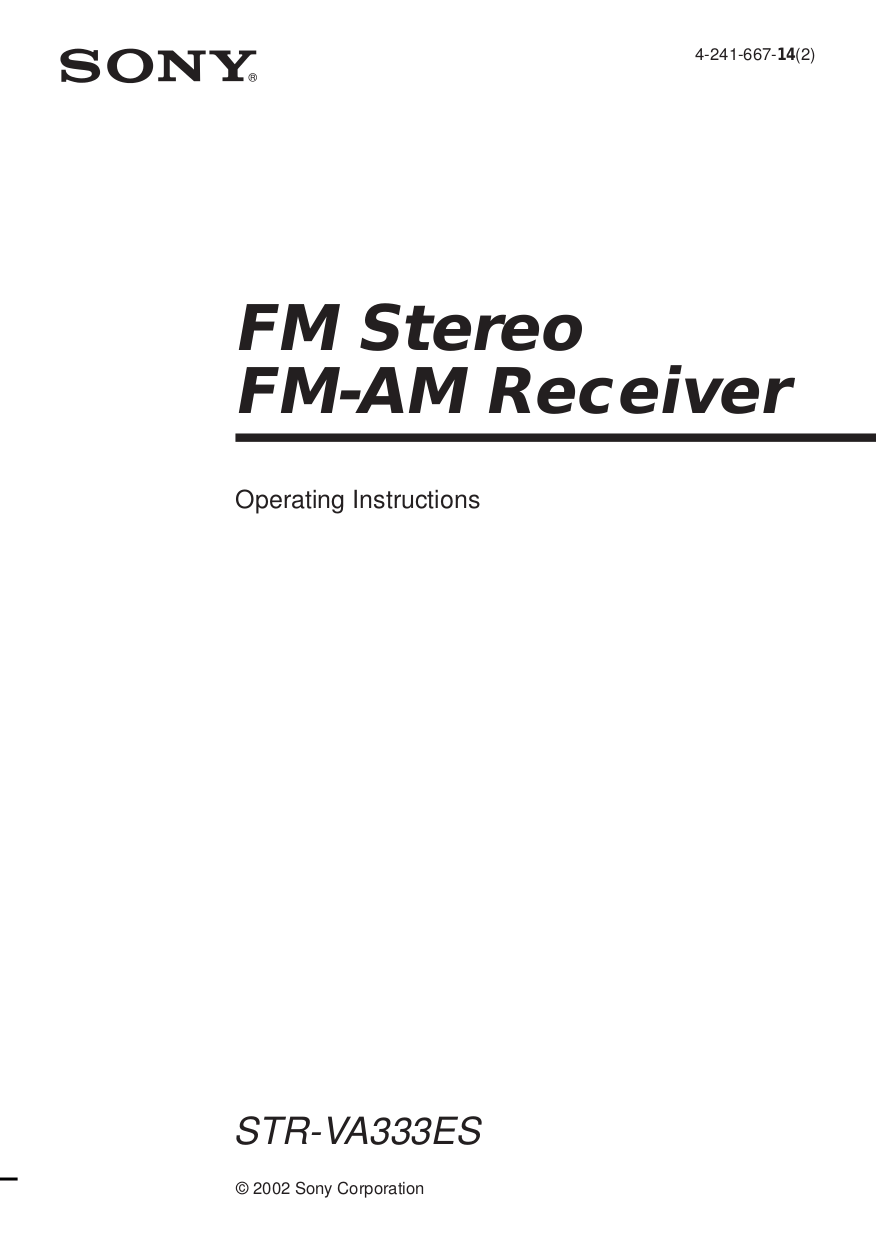 Download free pdf for Sony STR-VA333ES Receiver manual