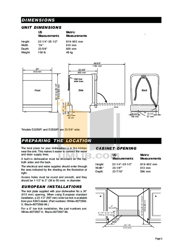 PDF manual for Asko Dishwasher D3250