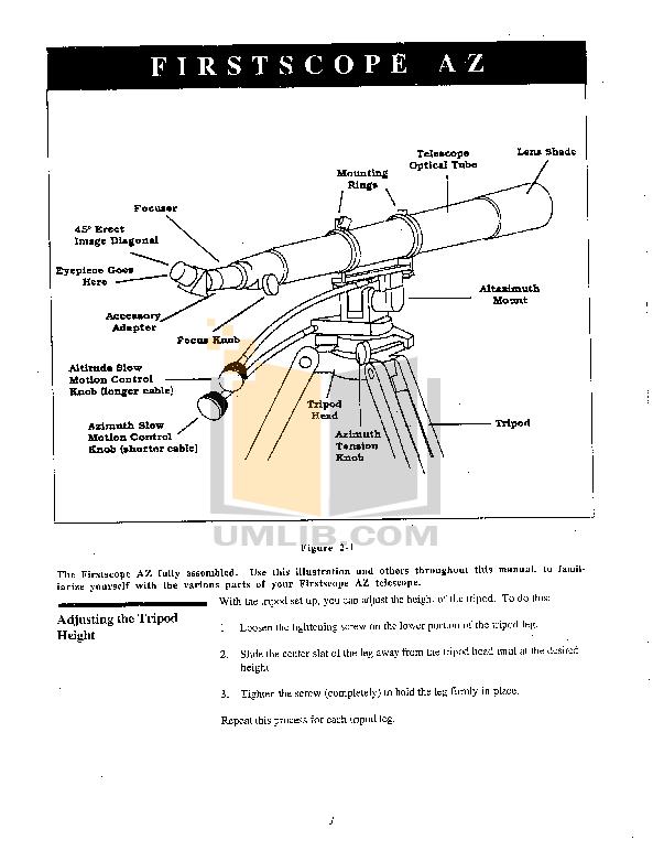 PDF manual for Celestron Telescope FirstScope 80AZ