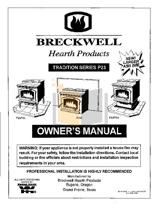 Download free pdf for Breckwell P23I Heating Cooling and