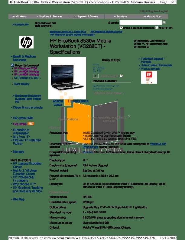 Download free pdf for HP EliteBook 8530w Laptop manual