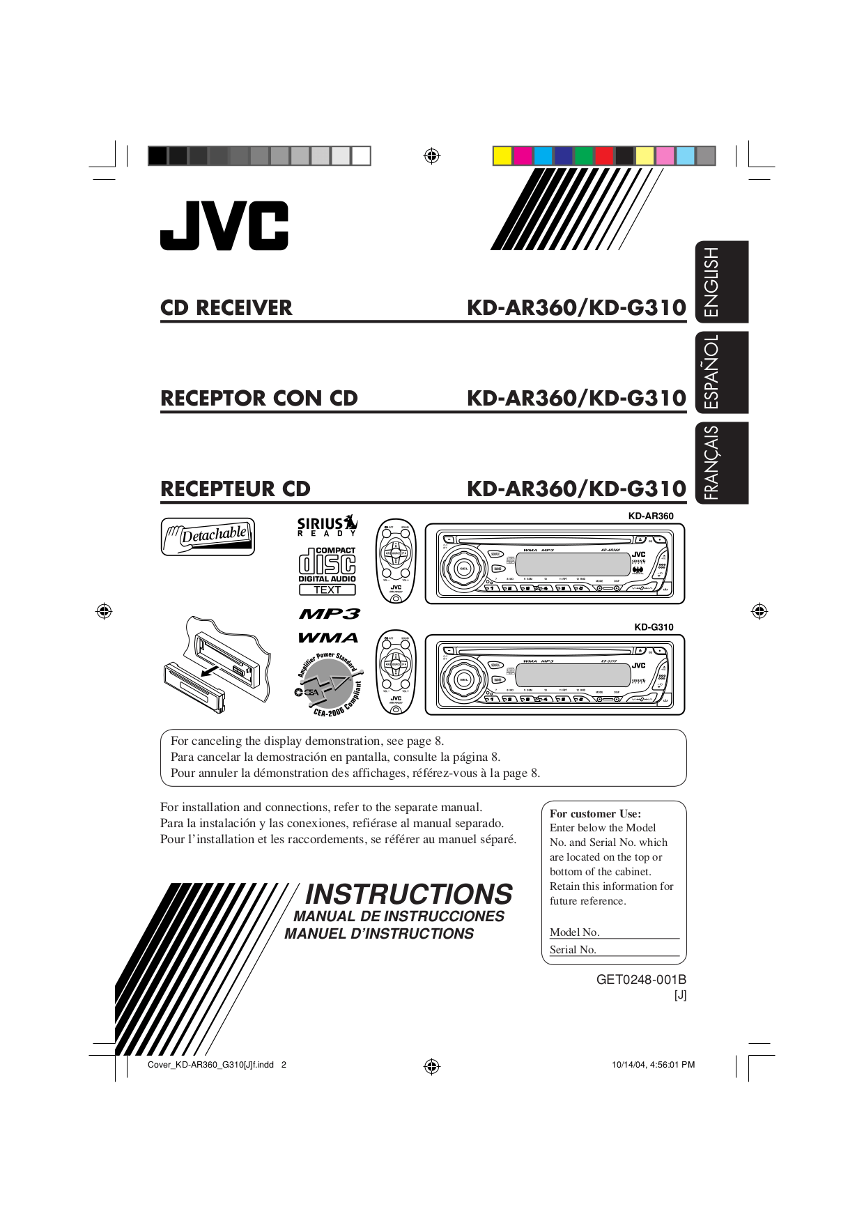 Download free pdf for JVC KD-G310 Car Receiver manual