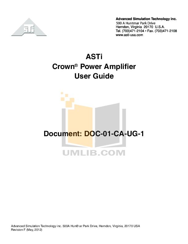 Download free pdf for Crown D-60 Amp manual