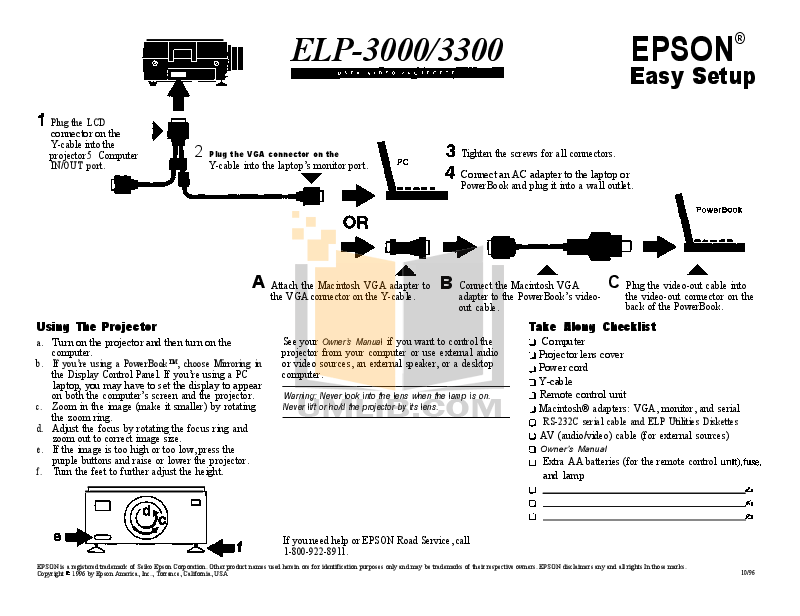 Download free pdf for Epson ELP-3300 Projector manual