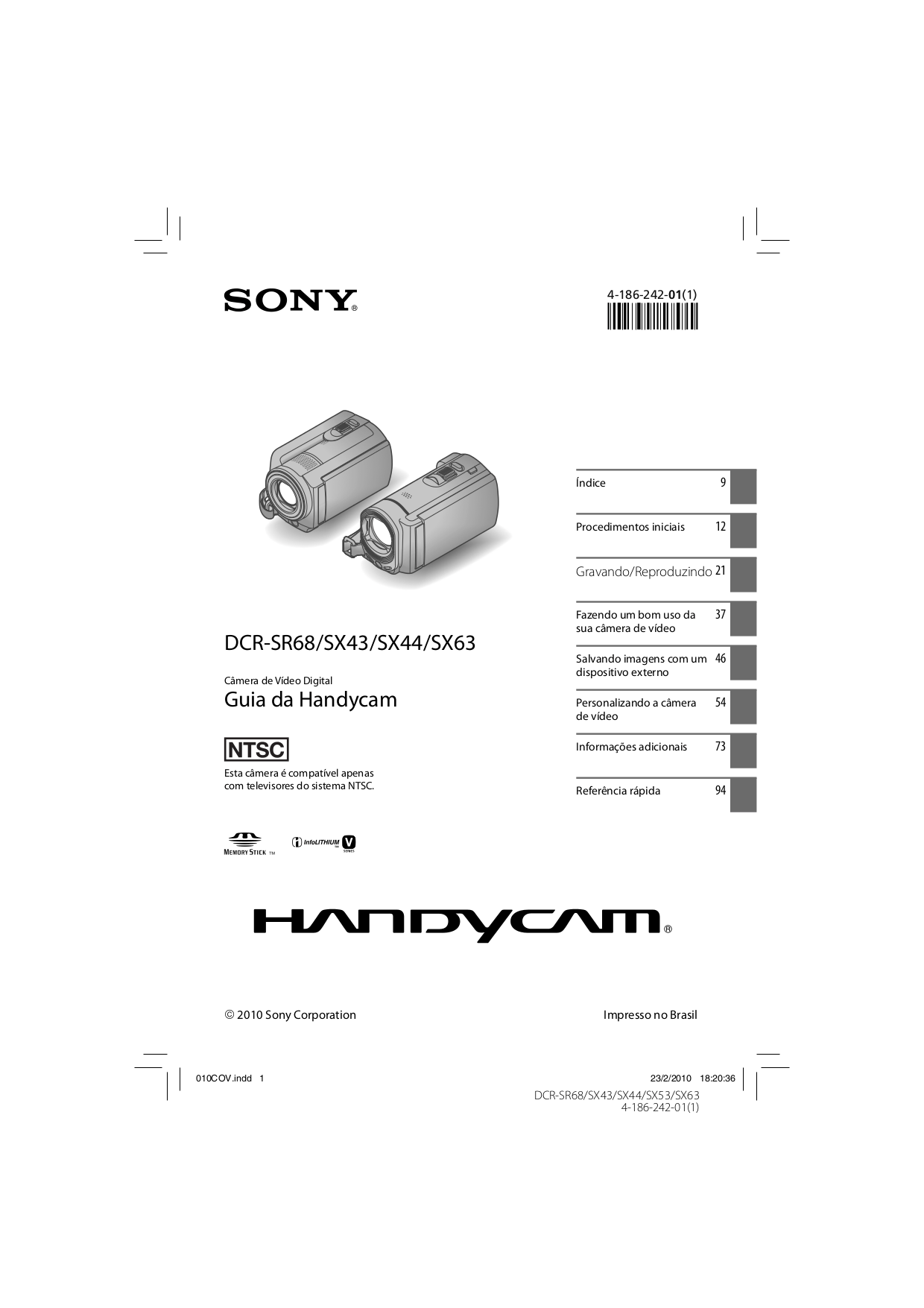 PDF manual for Sony Camcorders Handycam DCR-SX44