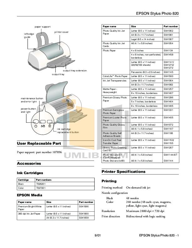 Download free pdf for Epson Stylus Photo 820 Printer manual