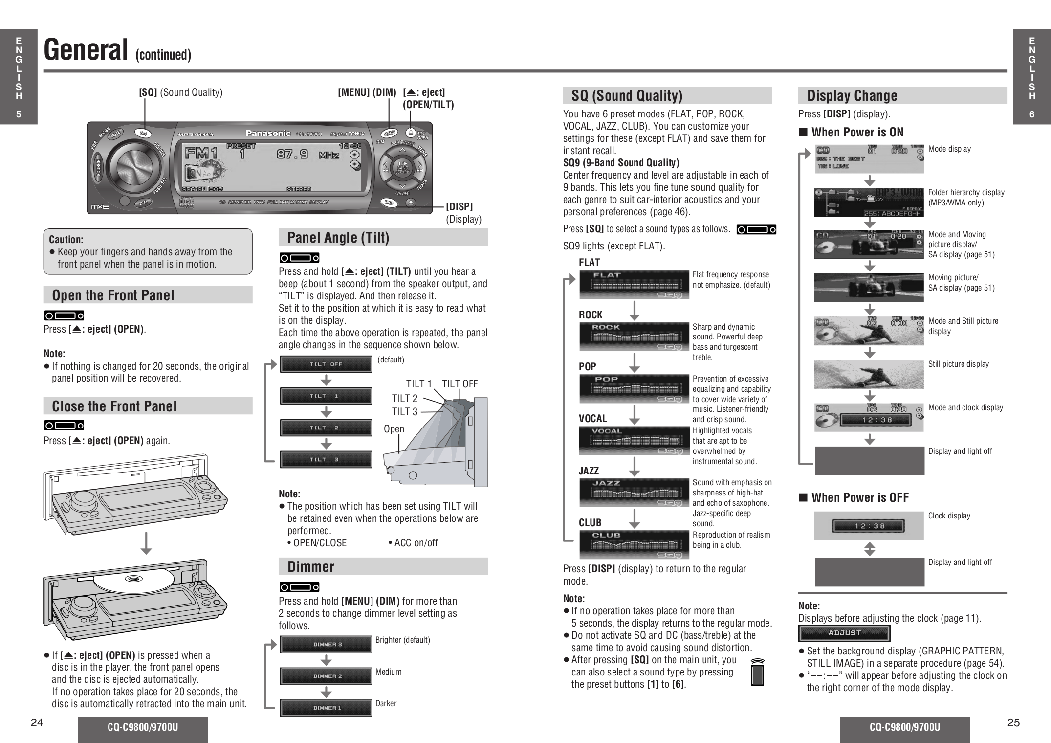 PDF manual for Panasonic Car Receiver CQ-C9700U