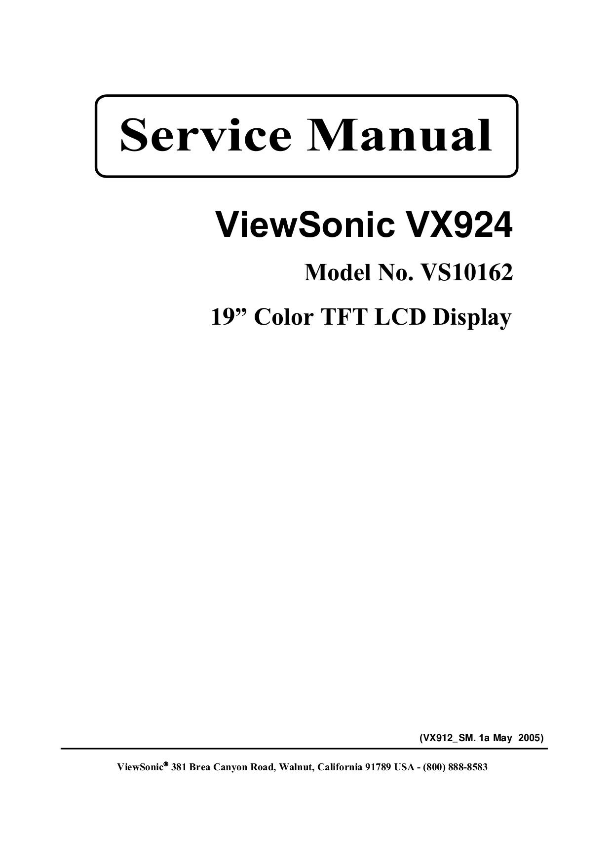 Download free pdf for Viewsonic VG150 Monitor manual