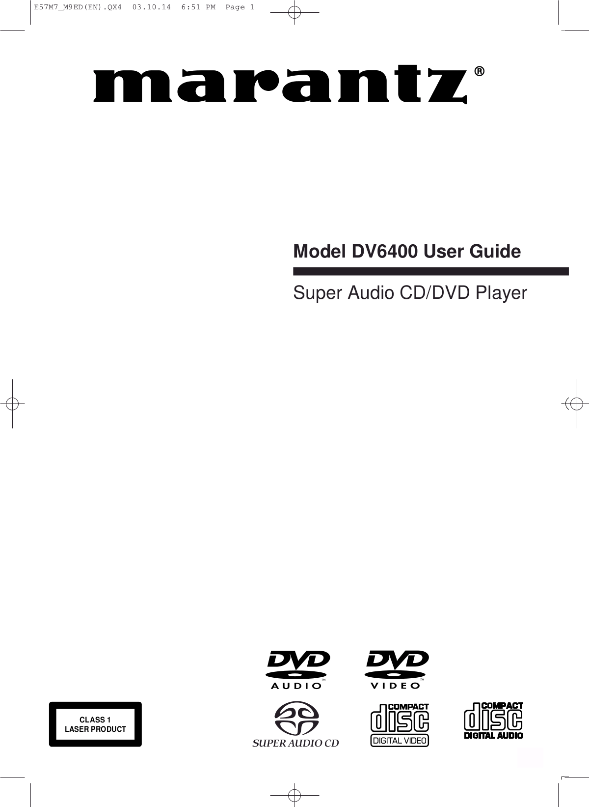 Download free pdf for Marantz DV6400 DVD Players manual