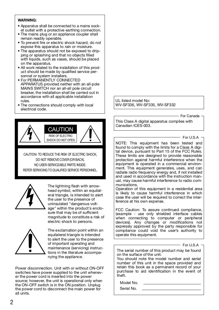 PDF manual for Panasonic Security Camera i-Pro WV-SF335