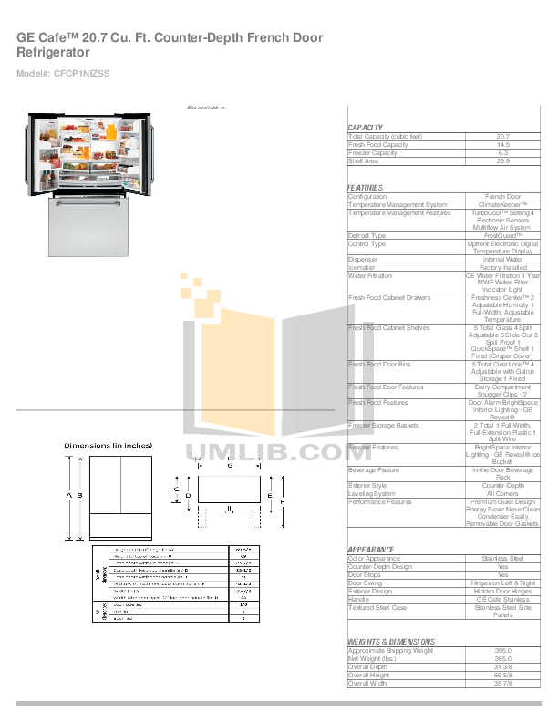 Download free pdf for GE Cafe CFCP1NIZSS Refrigerator manual