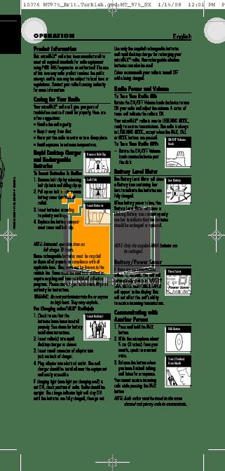 PDF manual for Cobra 2-way Radio microTALK MT 975