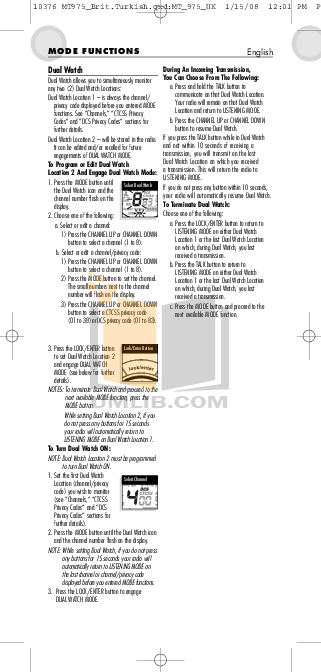 PDF manual for Cobra 2-way Radio microTALK MT 975
