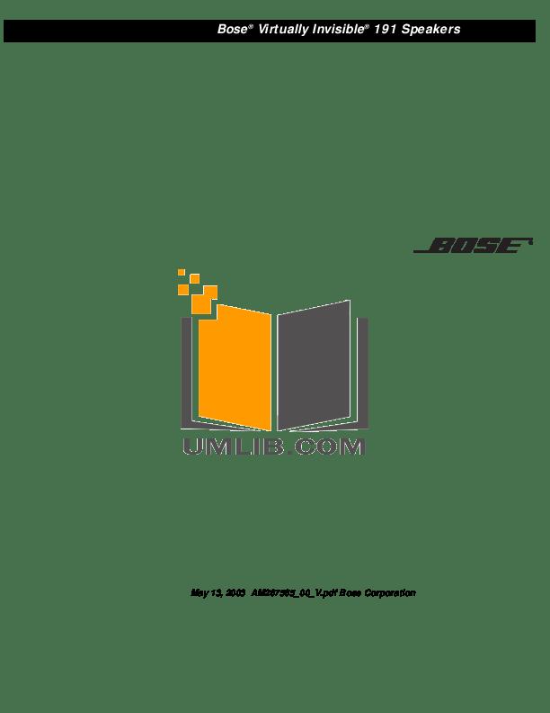 Download free pdf for Bose 101 Speaker manual