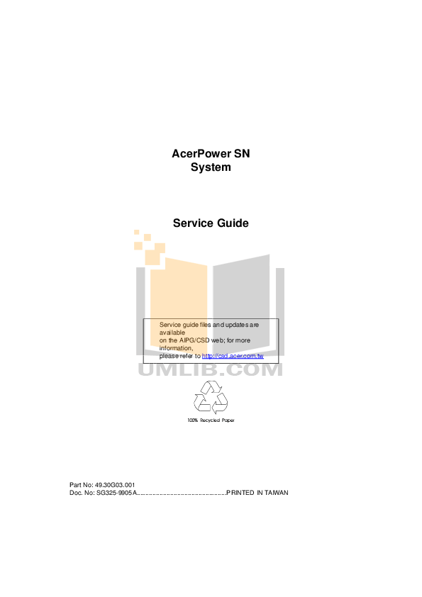 Download free pdf for Acer AcerPower Sd Desktop manual