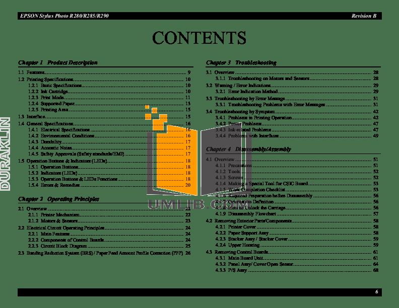 PDF manual for Epson Printer Stylus Photo R290