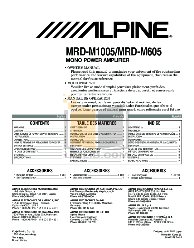 Download free pdf for Alpine MRD-M605 Car Amplifier manual