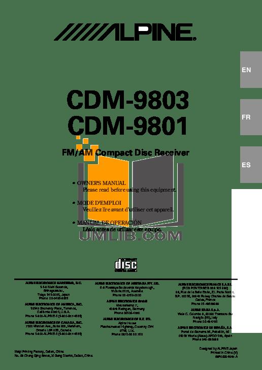Download free pdf for Alpine CDM-9801 Car Receiver manual