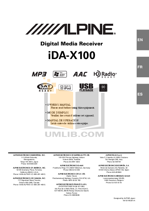 Download free pdf for Alpine IDA-X100 Car Receiver manual