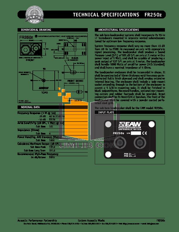 PDF manual for Eaw Subwoofer FR250z