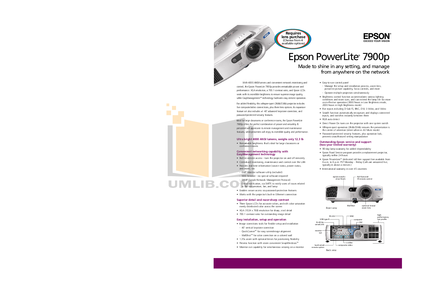 Download free pdf for Epson PowerLite 7900p Projector manual
