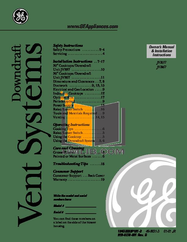 PDF manual for GE Range Profile JGP963