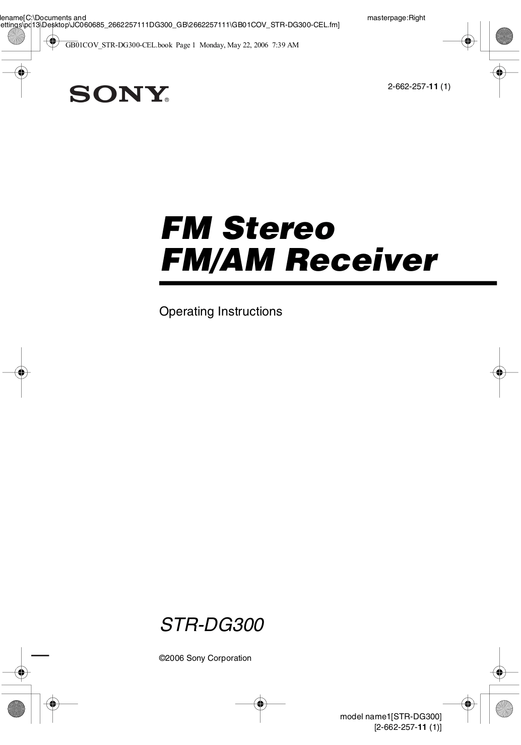 Download free pdf for Sony STR-DG300 Receiver manual