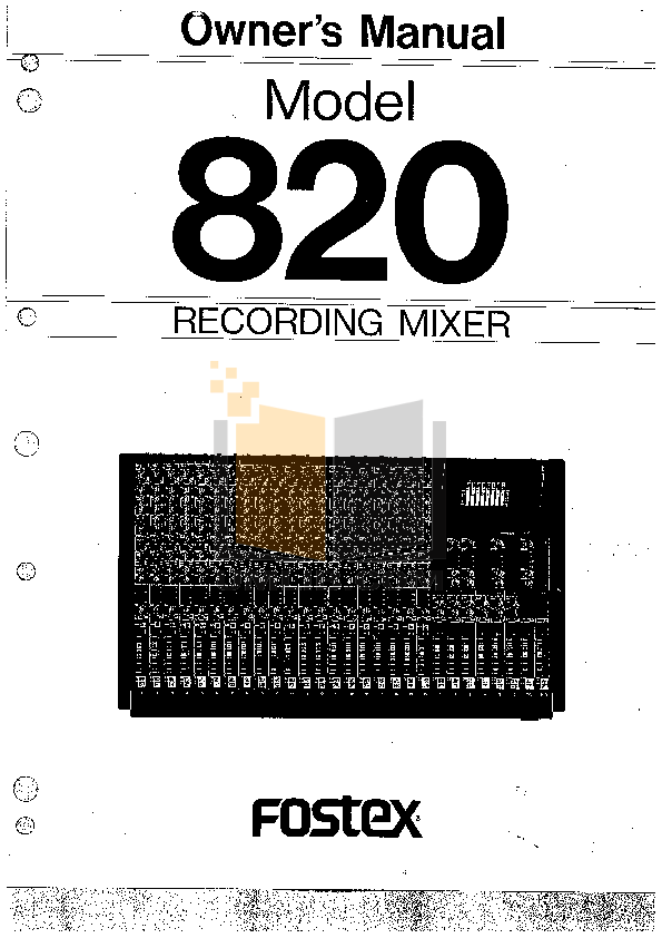 Download free pdf for Fostex 820 Recorder-Mixer Combo