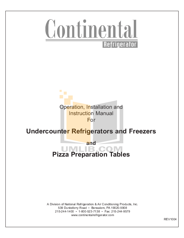 PDF manual for Continental Refrigerator SW60-18M