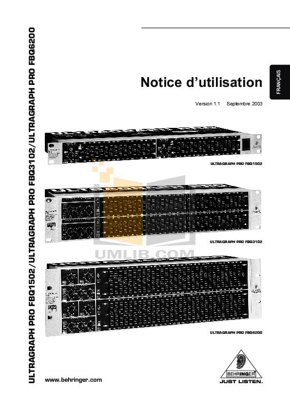 Download free pdf for Behringer Ultra-Graph Pro GEQ3102