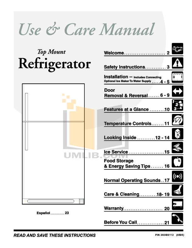 Download free pdf for Frigidaire FRT18S6AW Refrigerator manual