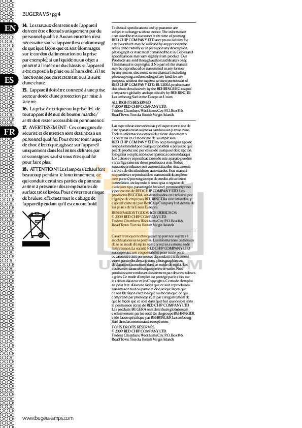 PDF manual for Bugera Amp V5