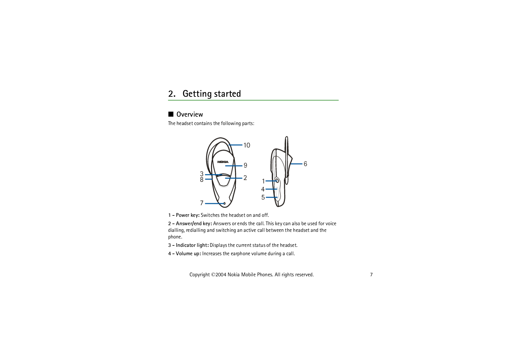 PDF manual for Nokia Headset HDW-3