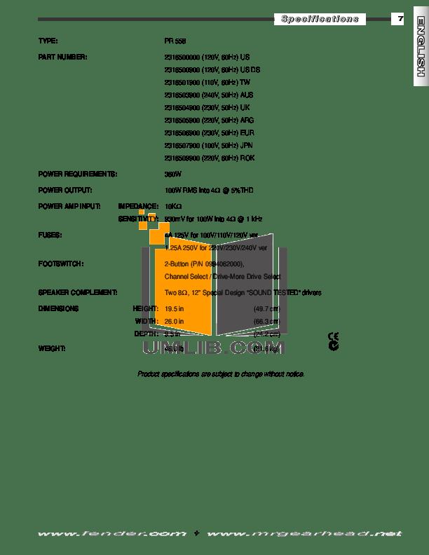 PDF manual for Fender Amp Frontman 212R