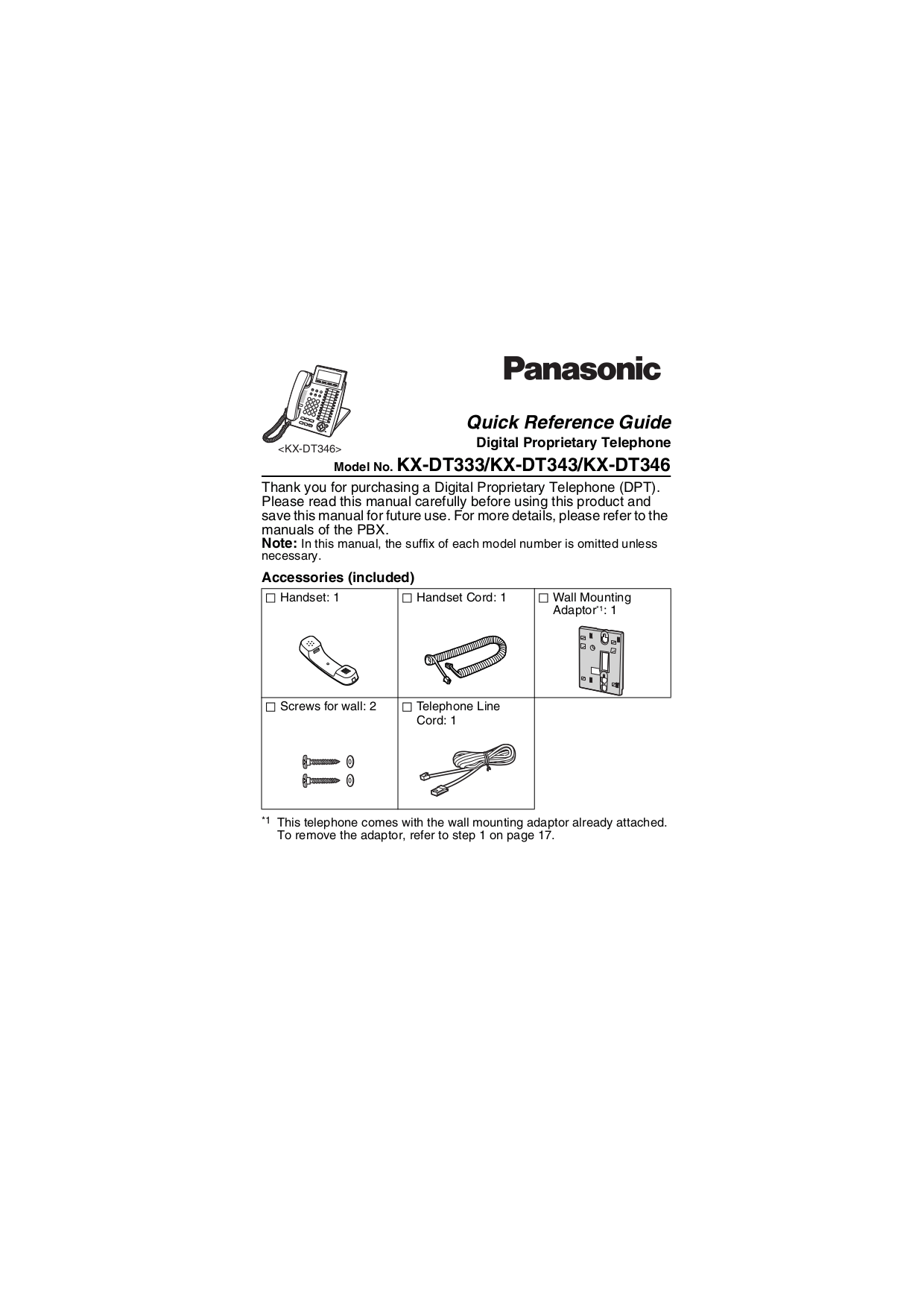 Download free pdf for Panasonic KX-DT333 Telephone manual