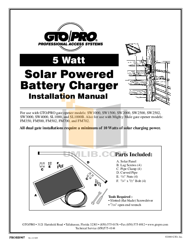Download free pdf for GTO SW-1000 Gate Operater Other manual