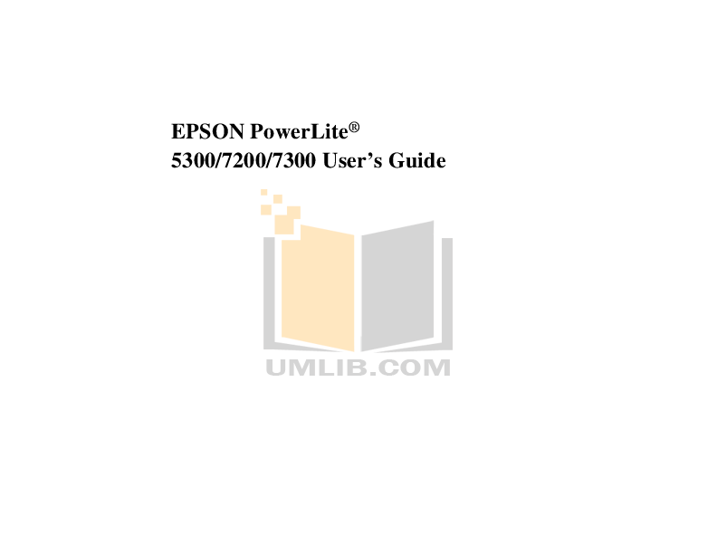 Download free pdf for Epson PowerLite 5300 Projector manual