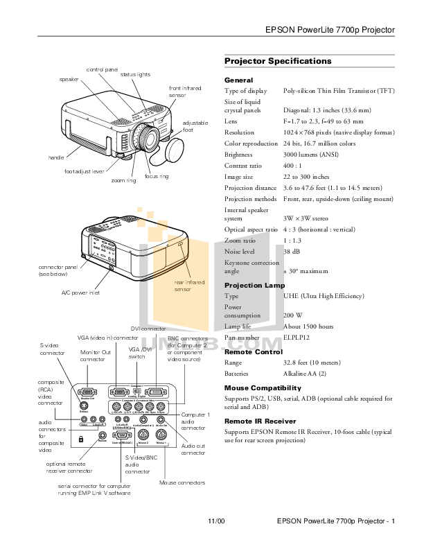 Download free pdf for Epson PowerLite 7700p Projector manual