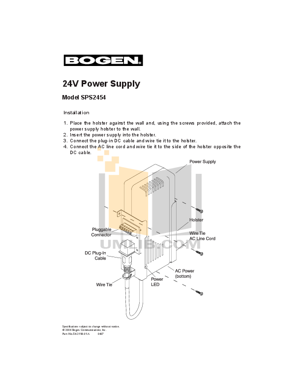Download free pdf for Bogen SPS2454 Power Supplier Other