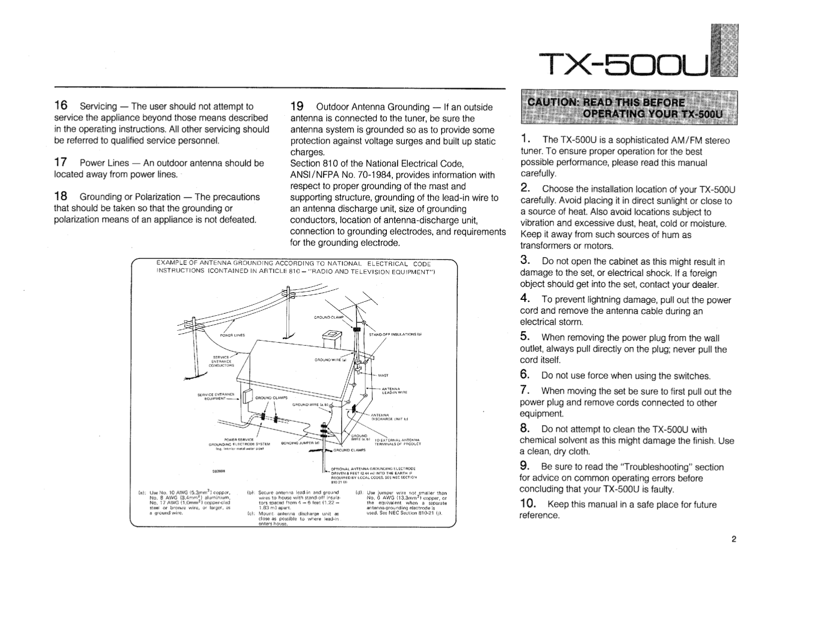 PDF manual for Yamaha Receiver TX-500U