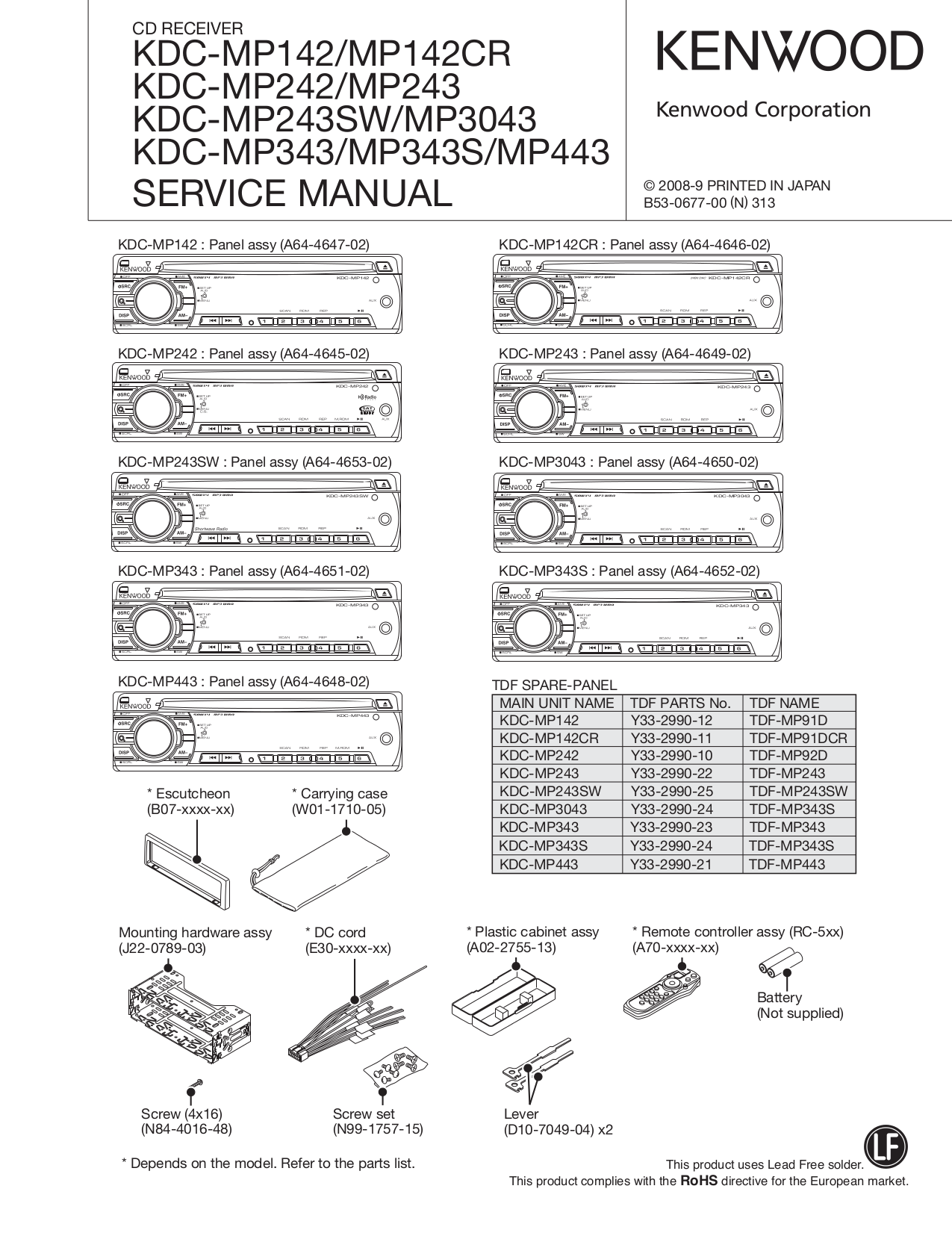 Download free pdf for Kenwood KDC-322 Car Receiver manual
