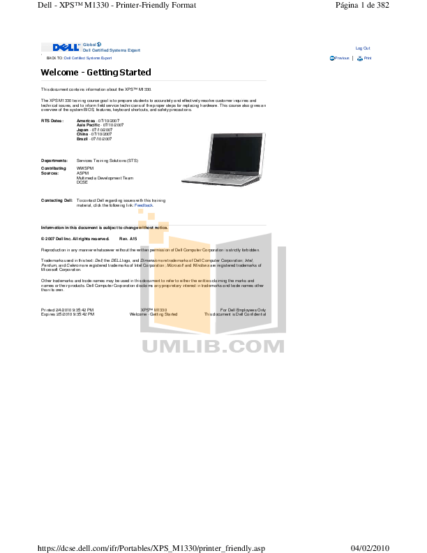 Download free pdf for Dell XPS M1330 Laptop manual
