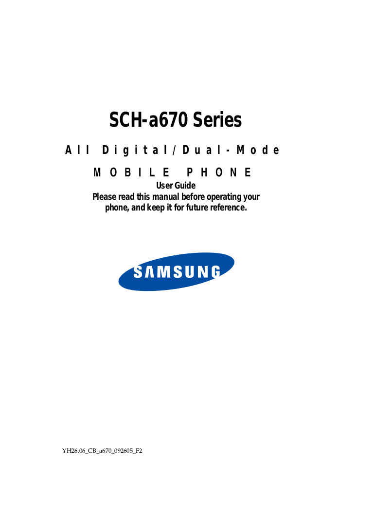 Download free pdf for Samsung SCH-A670 Cell Phone manual