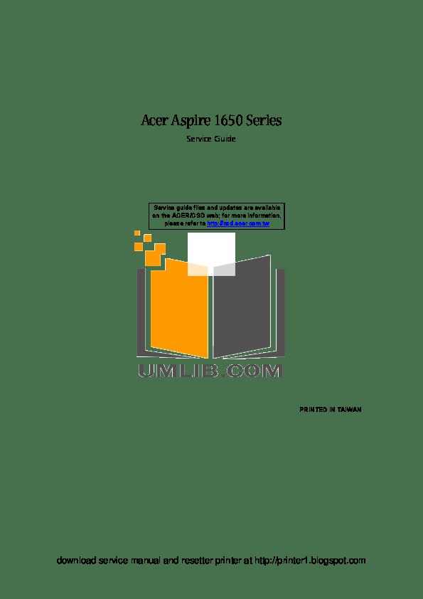 Download free pdf for Acer Aspire 1650Z Laptop manual