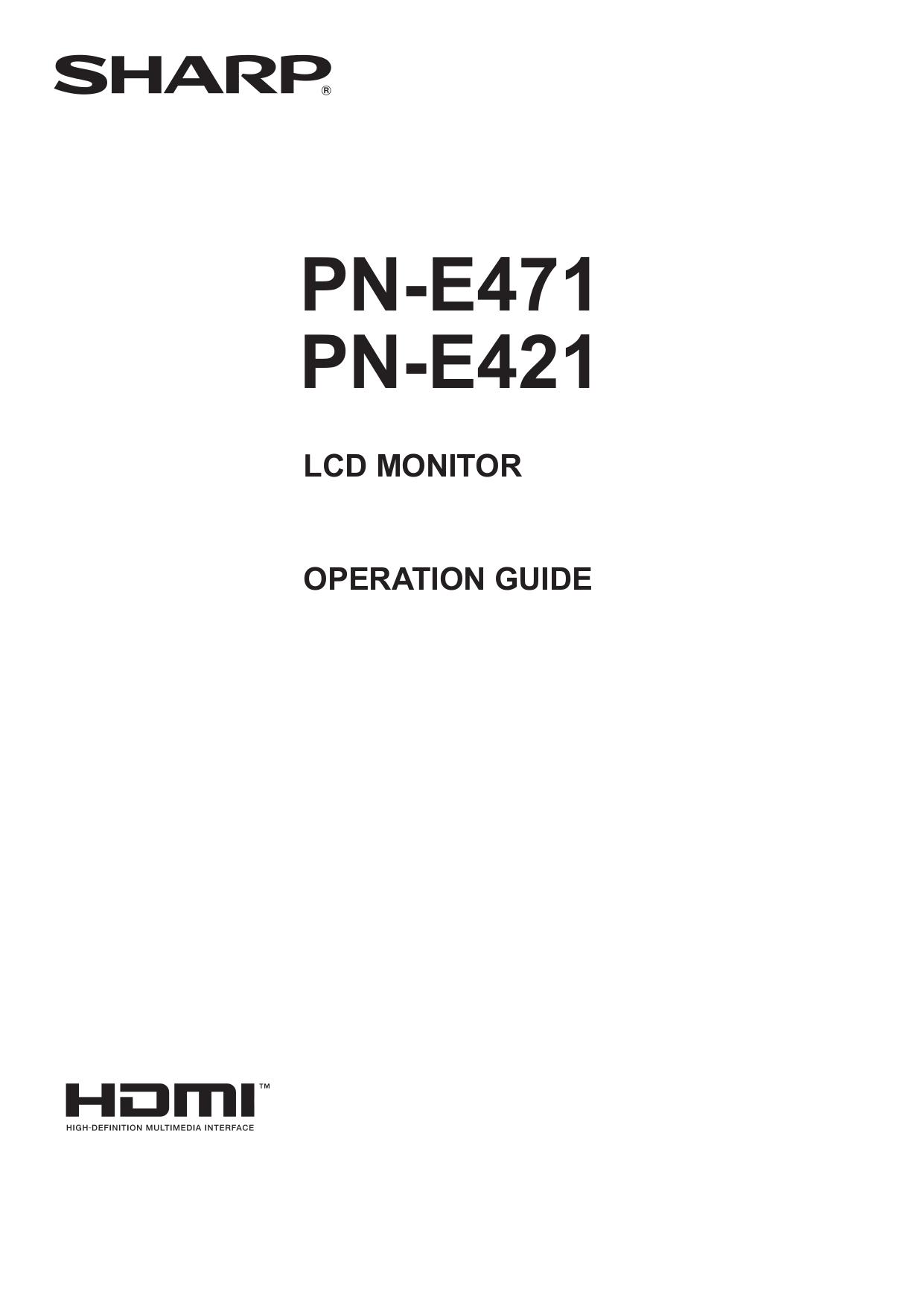 Download free pdf for Sharp PN-E471 Monitor manual